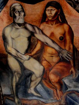 Malinche and Cortes mural by Jose Clemente Orozco