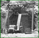 Explosives arrive at the eastern portal of the new Allegheny Mountain Tunnel.  (Johnsontown Tribue-Democrat)