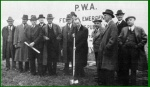 October 27, 1938. Walter Jones, commission chairman, turns the first spade of dirt. (Pennsylvania State Archives)